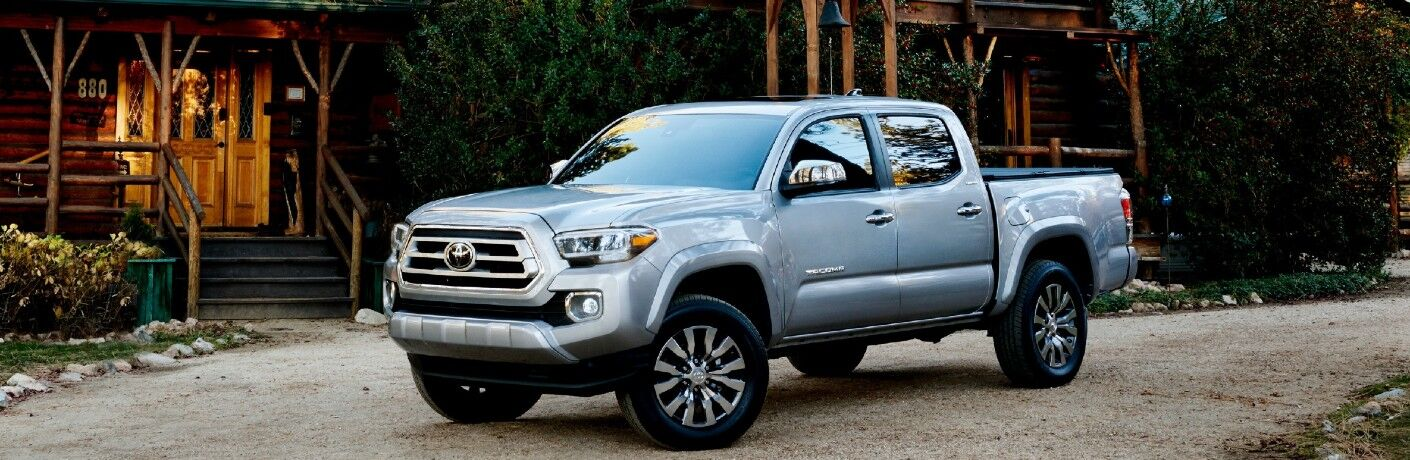 Silver 2021 Toyota Tacoma in a Driveway