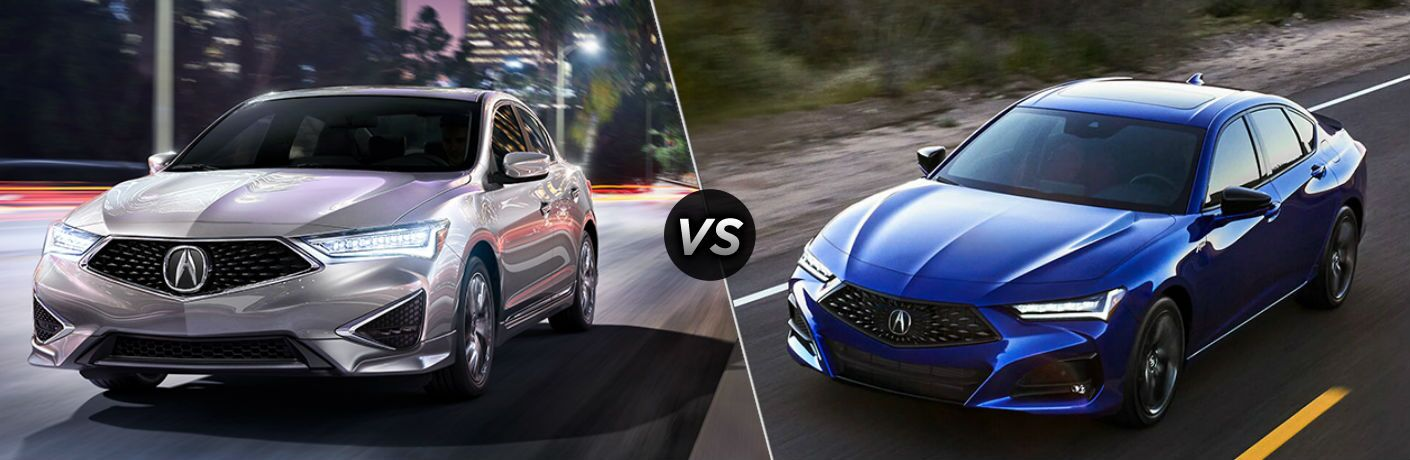 Silver 2021 Acura ILX on a City Street at Night vs Blue 2021 Acura TLX on a Desert Highway