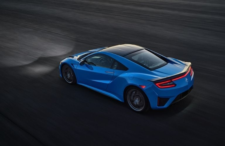Overhead View of Blue 2021 Acura NSX Rear and Side Exterior