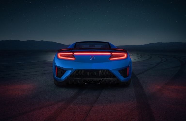 Blue 2021 Acura NSX Rear Exterior and Taillights at Night