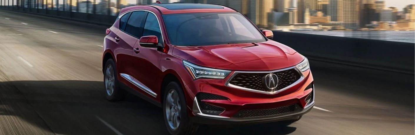 Red 2021 Acura RDX Front Exterior on a Bridge