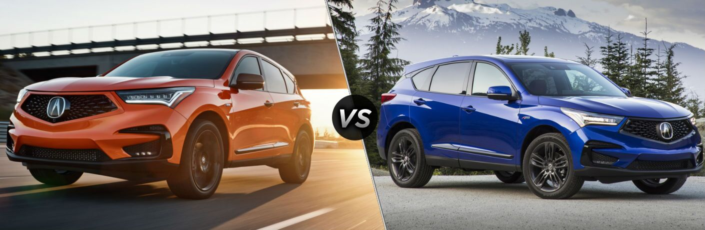 Orange 2021 Acura RDX PMC Edition on a Freeway at Sunset vs Blue 2020 Acura RDX A-Spec in a Parking Lot