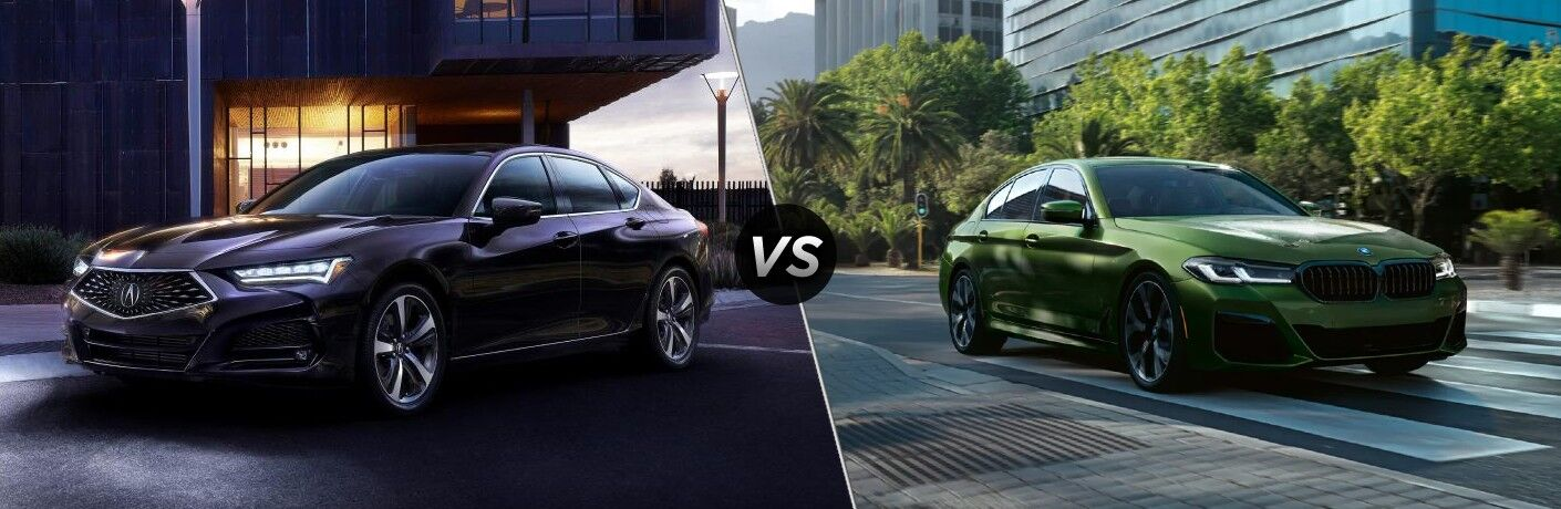 Black 2021 Acura TLX in a Driveway vs Green 2021 BMW 5 Series on a City Street