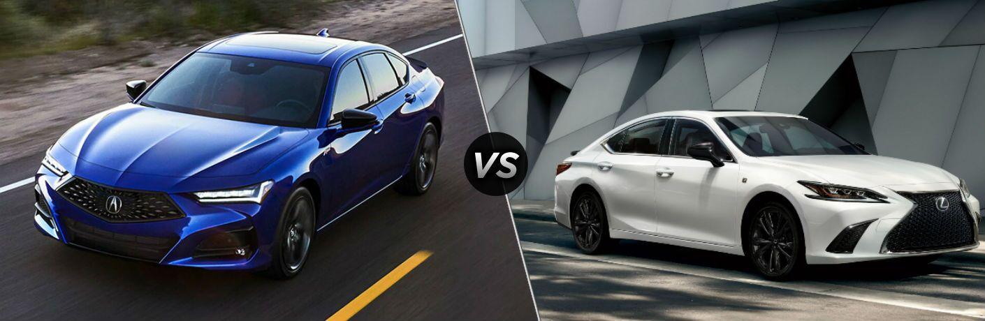 Blue 2021 Acura TLX on a Highway vs White 2021 Lexus ES on a City Street