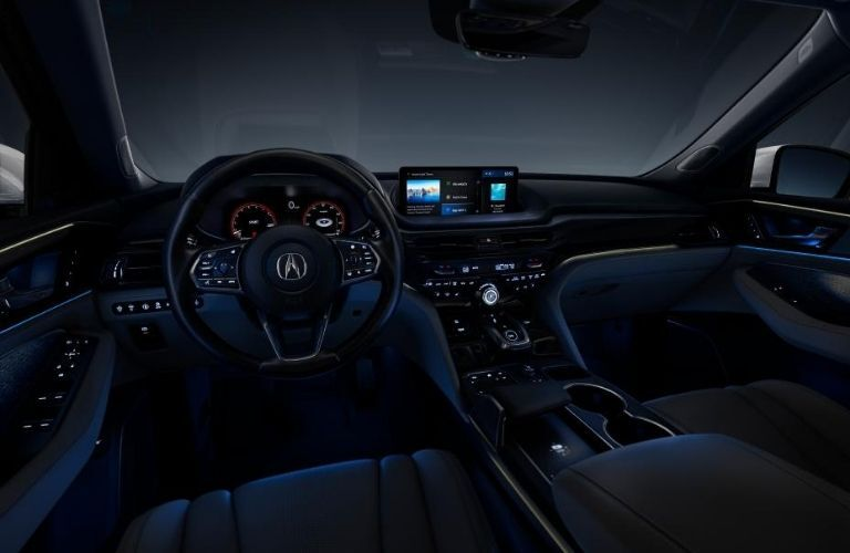 2022 Acura MDX Steering Wheel and Dashboard with Ambient Interior Lighting