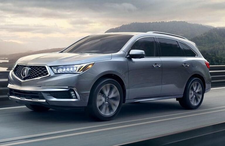 Exterior view of a silver 2019 Acura MDX