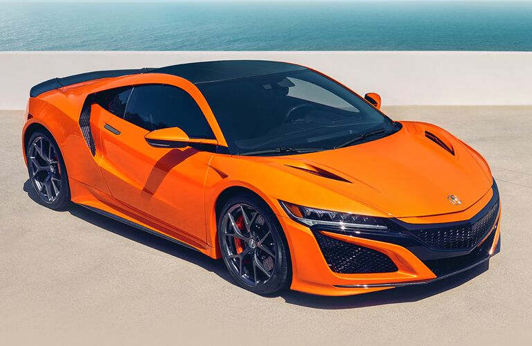 Exterior view of an orange 2019 Acura NSX