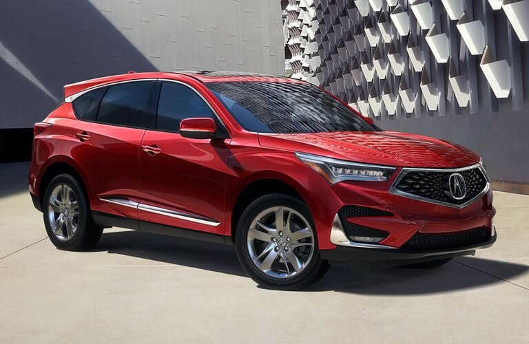 Exterior view of a red 2019 Acura RDX