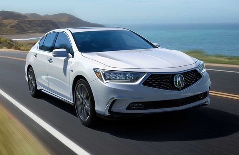 Exterior view of a white 2019 Acura RLX