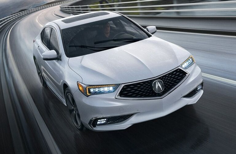 Exterior view of a white 2019 Acura TLX