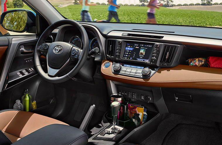 2016 toyota rav4 hybrid interior touchscreen cargo space storage