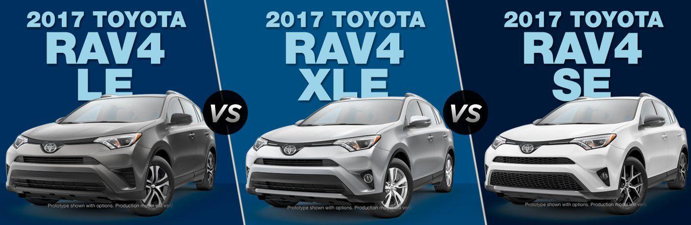 2017 Toyota RAV4 LE vs 2017 Toyota RAV4 XLE vs 2017 Toyota ...