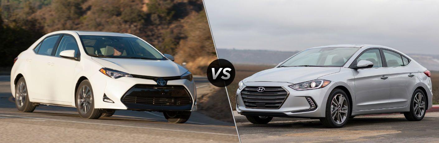 2018 Toyota Corolla Exterior Front Fascia and Passenger side plant background vs 2018 Hyundai Elantra Exterior Front Fascia and Drivers side water in background