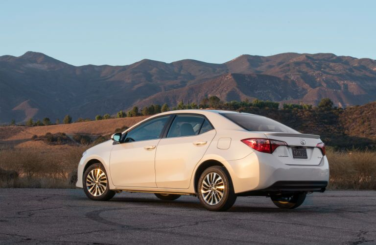 2018 Toyota Corolla Exterior Back Fascia and Drivers Side with Mountain Background