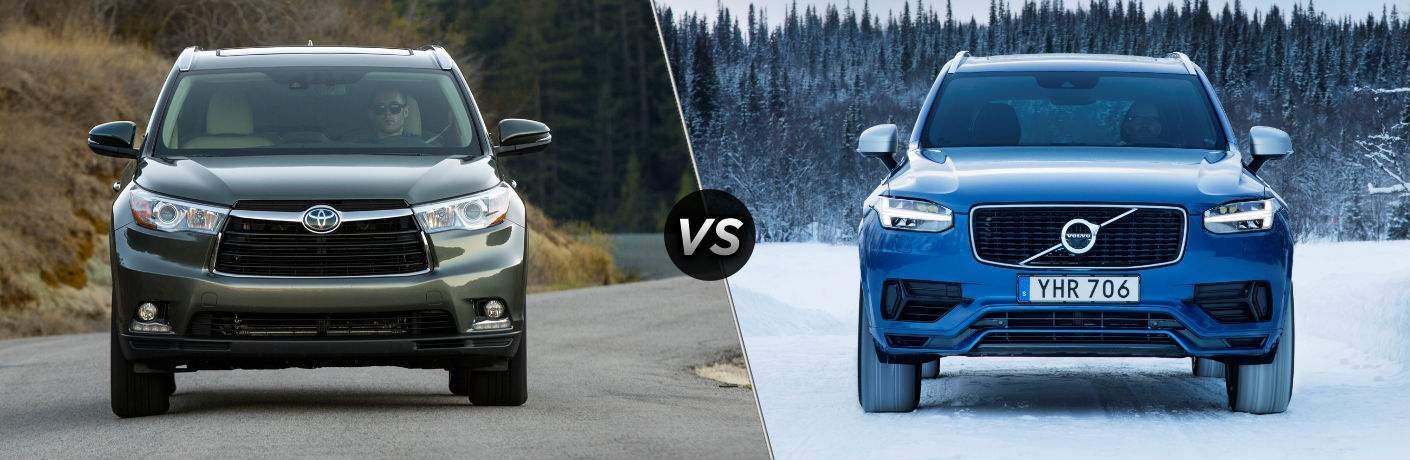 2018 Toyota Highlander Hybrid Exterior Front Fascia vs 2018 Volvo XC90 Hybrid Exterior Front Fascia