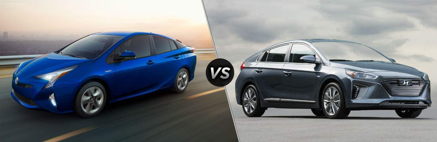 2018 Toyota Prius Exterior Driver Side Front vs 2018 Hyundai Ioniq Hybrid Exterior Passenger Side Front