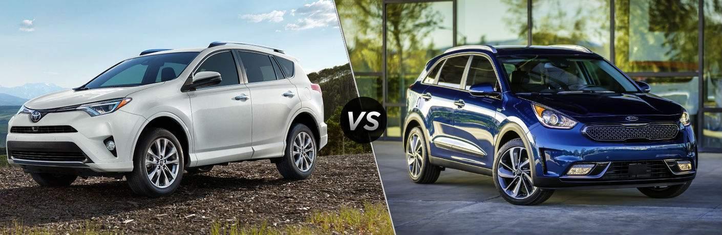 2018 Toyota RAV4 Hybrid Exterior Driver Side Front vs 2018 Kia Niro Hybrid Exterior Passenger Side Front