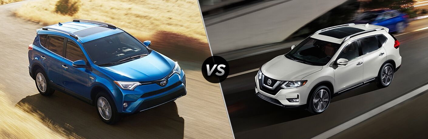 2018 Toyota RAV4 Hybrid Exterior Passenger Side Front Aerial vs 2018 Nissan Rogue Hybrid Exterior Driver Side Front Aerial