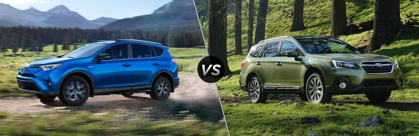 2018 Toyota RAV4 Exterior Driver Side vs 2018 Subaru Outback Exterior Passenger Side