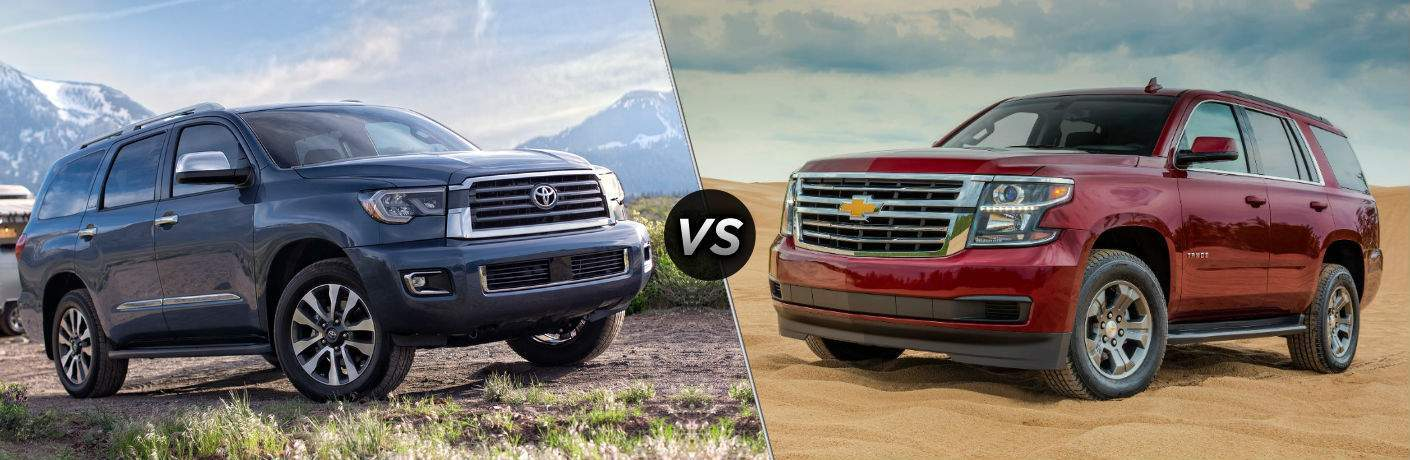 2018 Toyota Sequoia Exterior Passenger Side Front vs 2018 Chevy Tahoe Exterior Driver Side Front