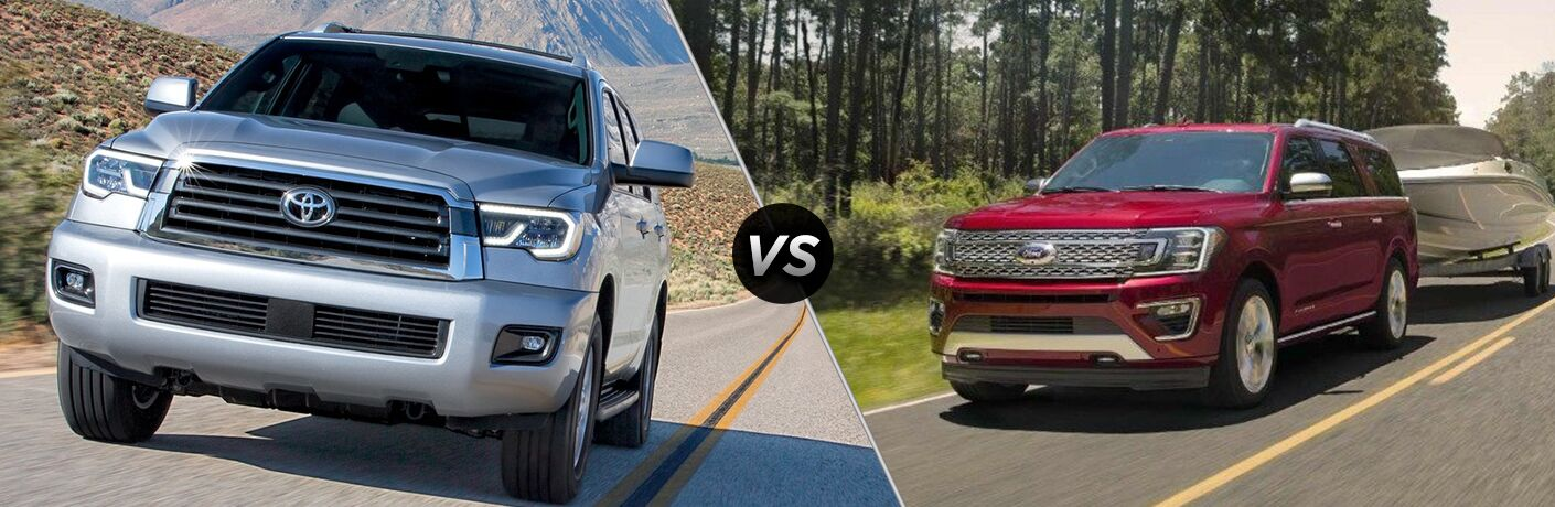 2018 Toyota Sequoia Exterior Driver Side Front Angle vs 2018 Ford Expedition Exterior Driver Side Front Angle