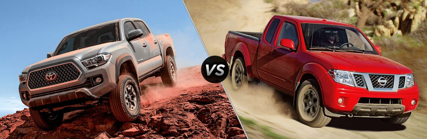 2018 Toyota Tacoma Exterior Driver Side Front Downhill vs 2018 Nissan Frontier Exterior Passenger Side Front Downhill