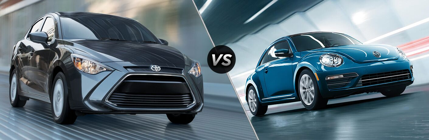 2018 Toyota Yaris iA Exterior Passenger Side Front Angle vs 2018 Volkswagen Beetle Exterior Driver Side Front Angle