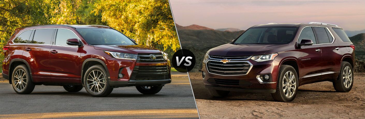 2018 Toyota Highlander Exterior Front vs 2018 Chevy Traverse Exterior Front