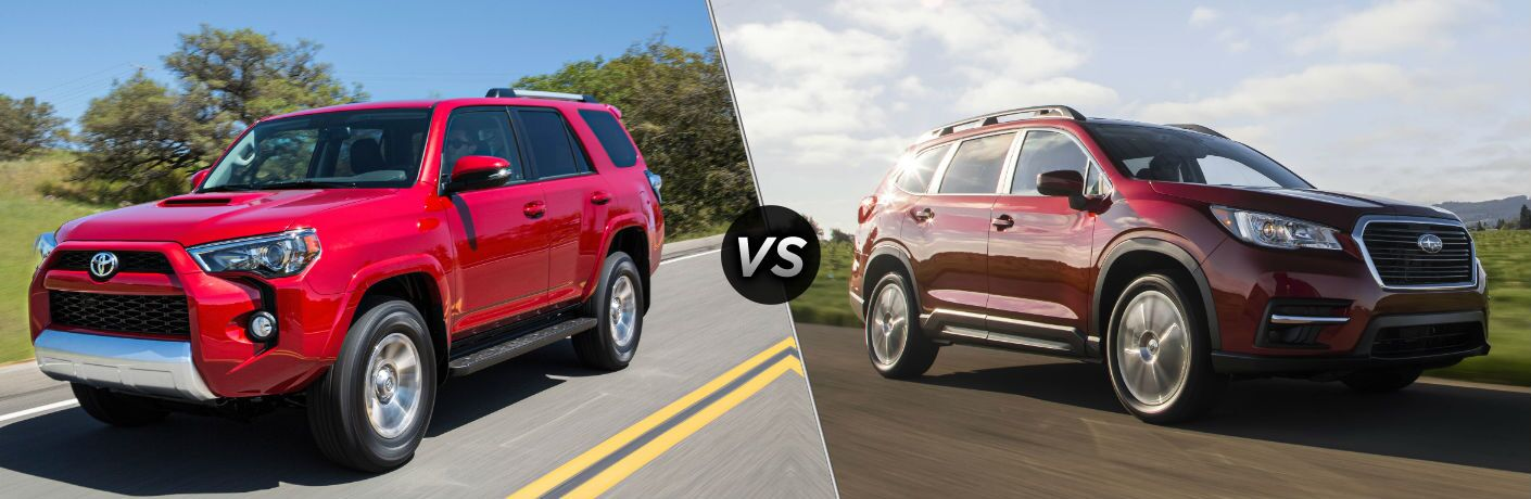 2019 Toyota 4Runner Exterior Driver Side Front Profile vs 2019 Subaru Ascent Exterior Passenger Side Front Profile