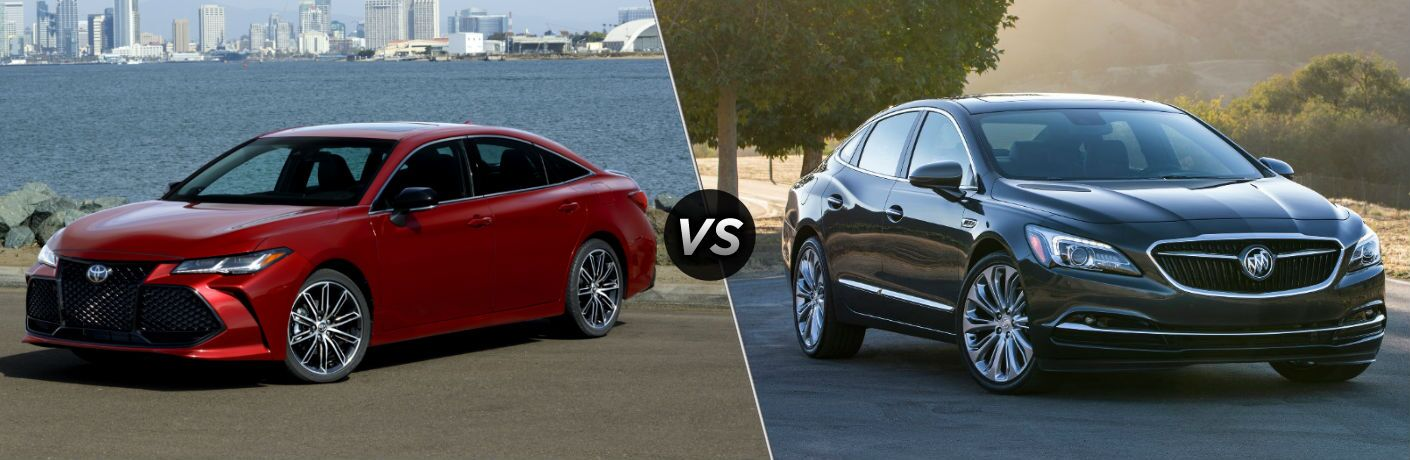 2019 Toyota Avalon Exterior Driver Side Front Angle vs 2019 Buick LaCrosse Exterior Passenger Side Front Angle