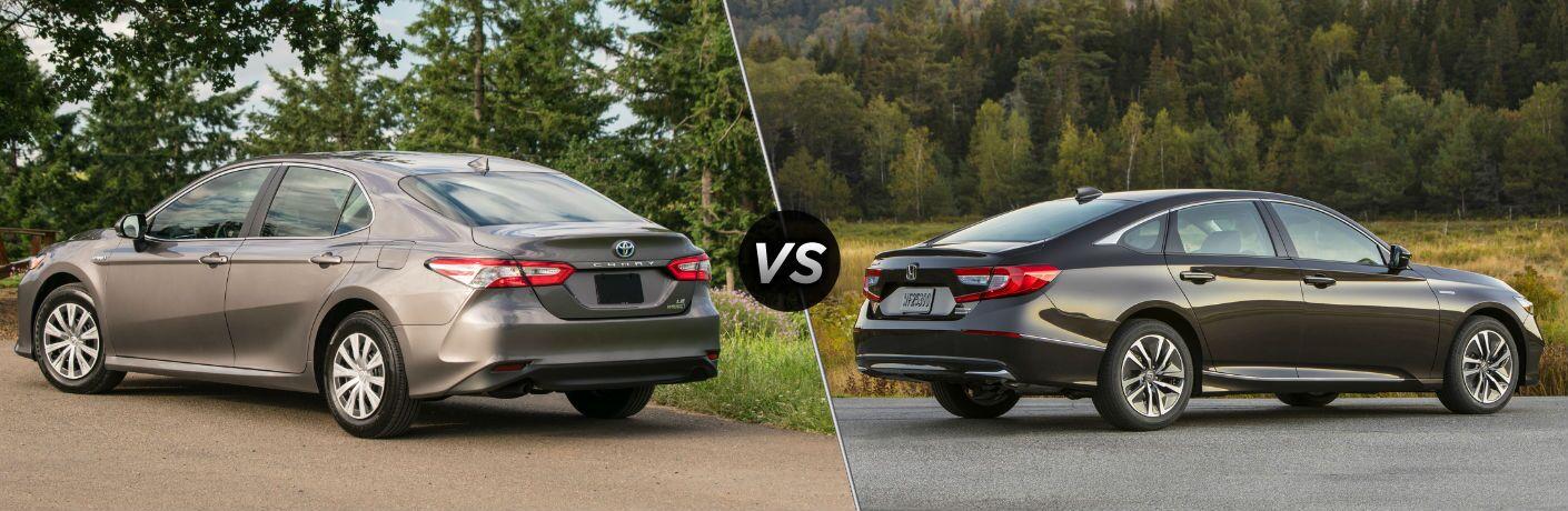 2019 Toyota Camry Hybrid Exterior Driver Side Rear Profile vs 2019 Honda Accord Hybrid Exterior Passenger Side Rear Profile