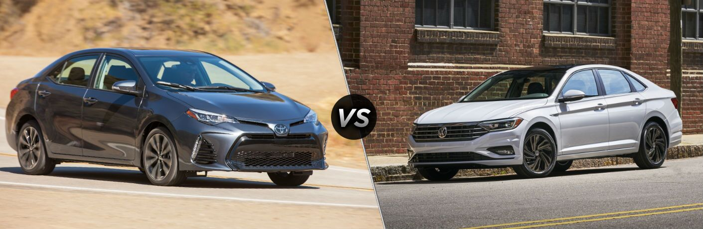 2019 Toyota Corolla Exterior Passenger Side Front Angle vs 2019 Volkswagen Jetta Exterior Driver Side Front Angle