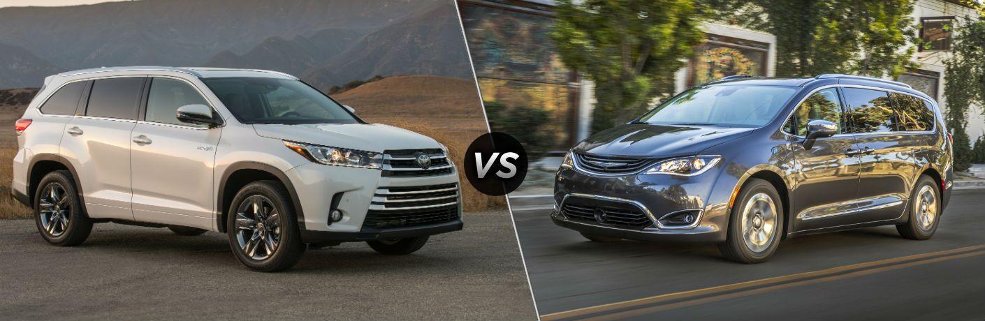 2019 Toyota Highlander Hybrid Exterior Passenger Side Front Profile vs 2019 Chrysler Pacifica Hybrid Exterior Driver Side Front Profile