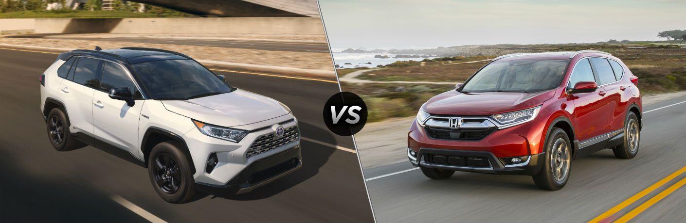 2019 Toyota RAV4 Hybrid Exterior Passenger Side Front Angle vs 2019 Honda CR-V Exterior Driver Side Front Angle