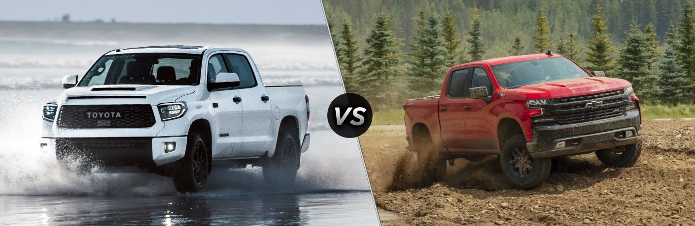 2019 Toyota Tundra Exterior Driver Side Front Angle vs 2019 Chevy Silverado 1500 Exterior Passenger Side Front Angle
