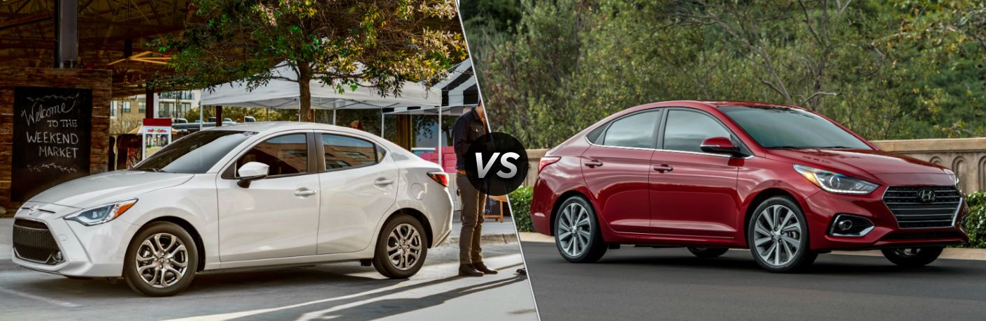 2019 Toyota Yaris Exterior Driver Side Front Profile vs 2019 Hyundai Accent Exterior Passenger Side Front Profile
