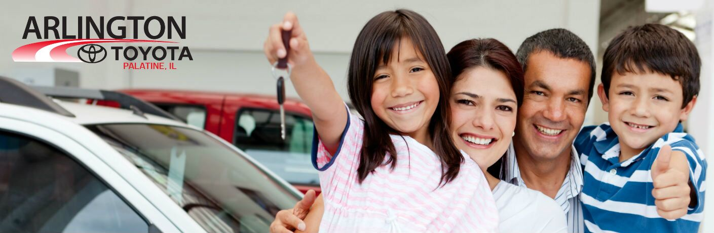 Spanish family purchasing new vehicle