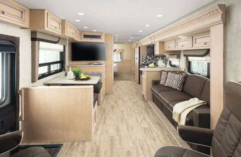 Wide shot of upscale RV interior
