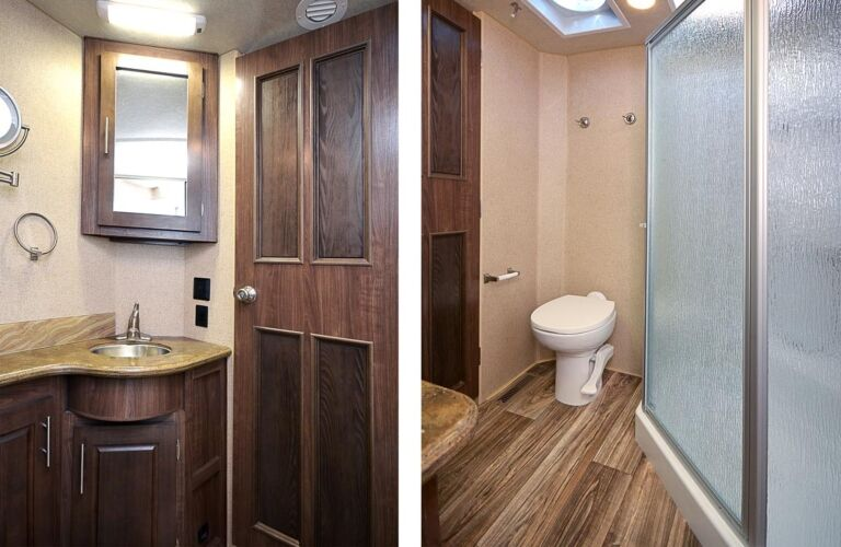 View of the bathroom inside a 2019 Northwood Arctic Fox 27-5L