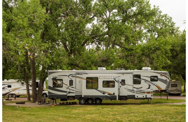 Fifth-wheel trailers at a campground