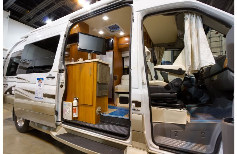 Class B motorhome example interior at a show