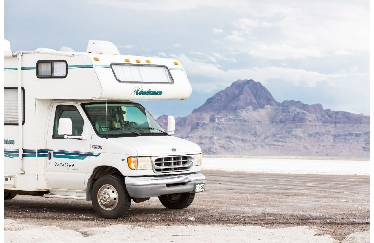 Class C RV on the salt flats
