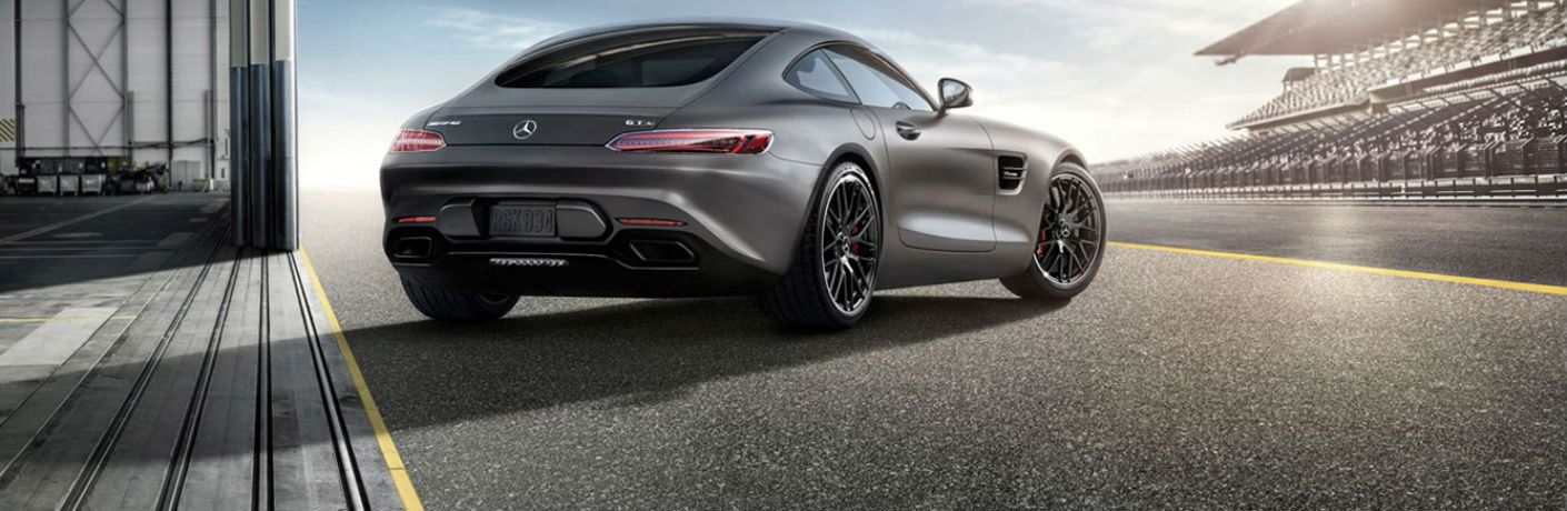 Rear exterior view of a gray 2016 Mercedes-Benz AMG GT