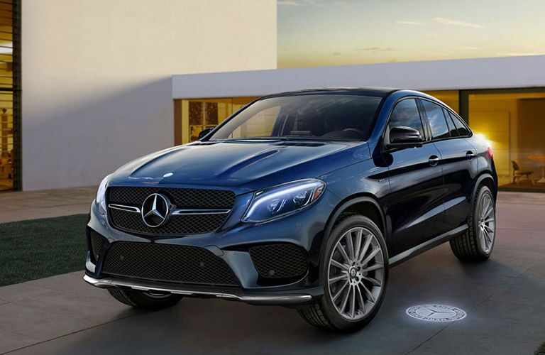 Driver side exterior view of a blue 2016 Mercedes-Benz GLE Coupe