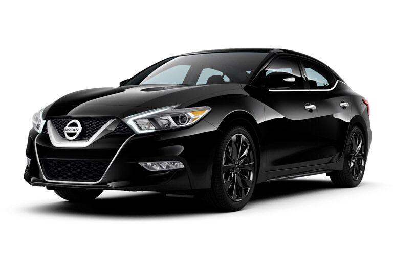 Front exterior view of black 2017 Nissan Maxima