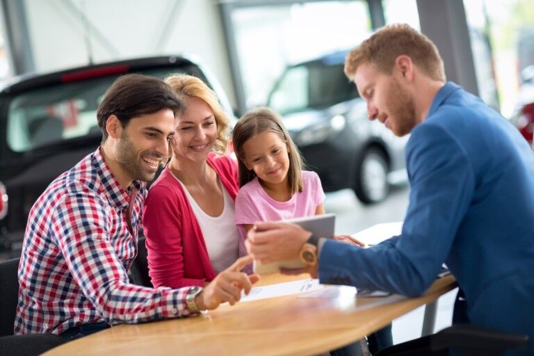 A family buying a car