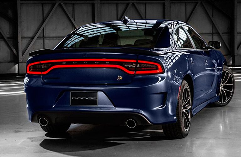 Rear of blue 2017 Dodge Charger