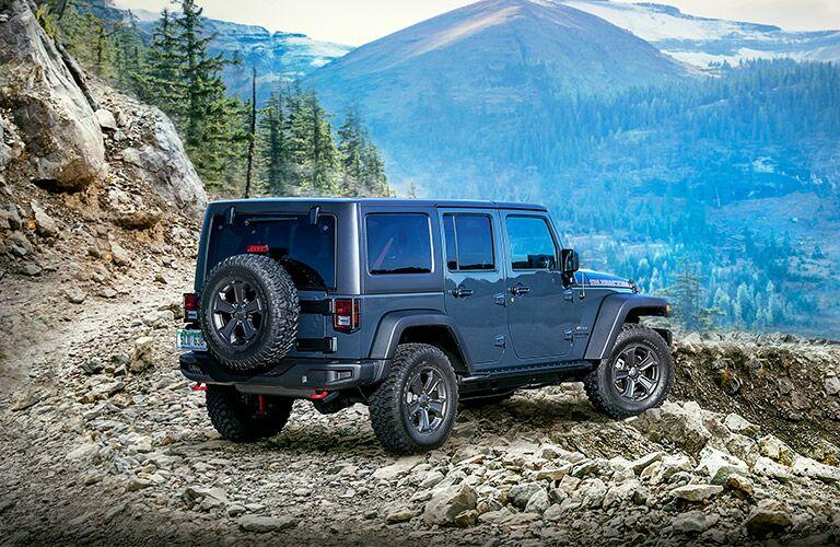 2018 Jeep Wrangler JK Unlimited Rear View of Metallic Blue Exterior