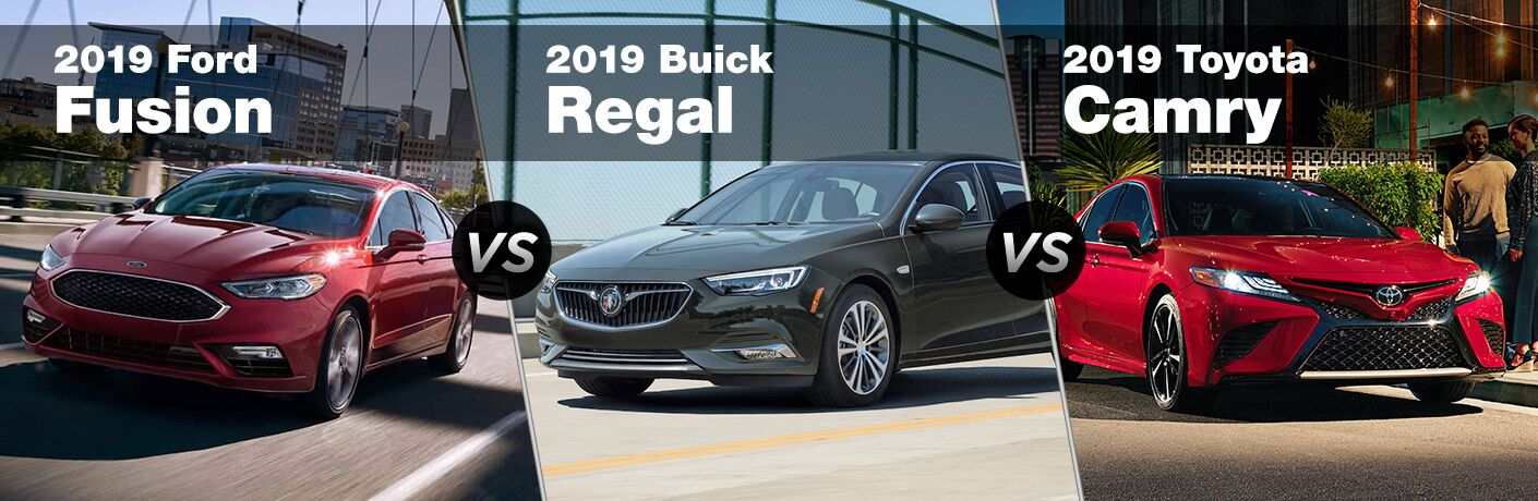 2019 Ford Fusion next to a 2019 Buick Regal and 2019 Toyota Camry
