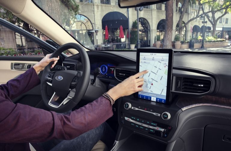 Interior of 2020 Ford Explorer showing touchscreen display